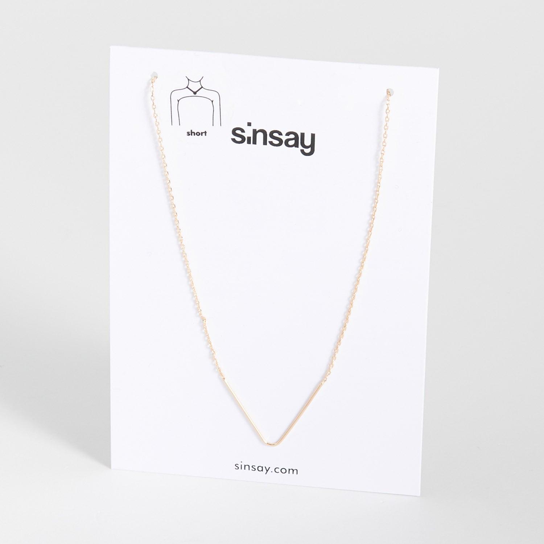 biżuteria sinsay - minimalistyczny naszyjnik - beżowy - sinsay