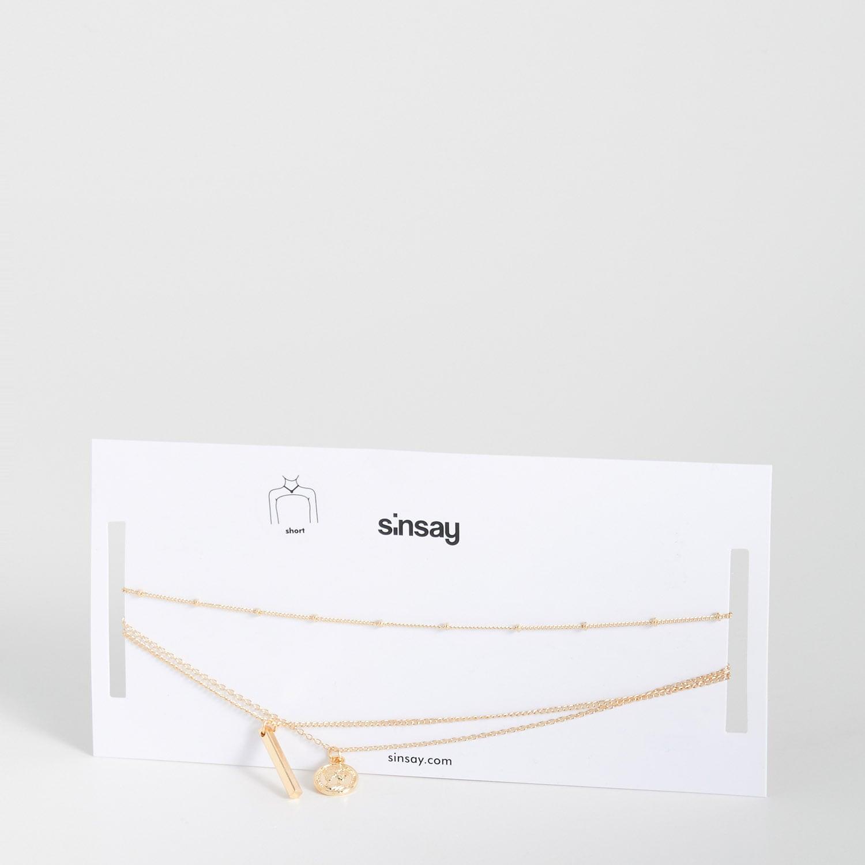 biżuteria sinsay - naszyjnik z zawieszkami - beżowy - sinsay