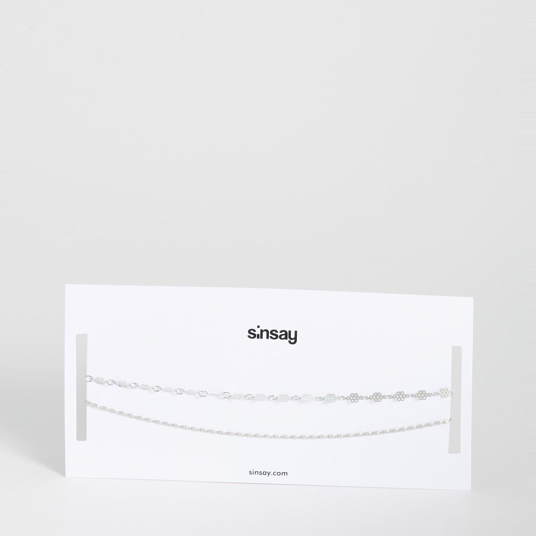 biżuteria sinsay - naszyjniki - jasny szary - sinsay