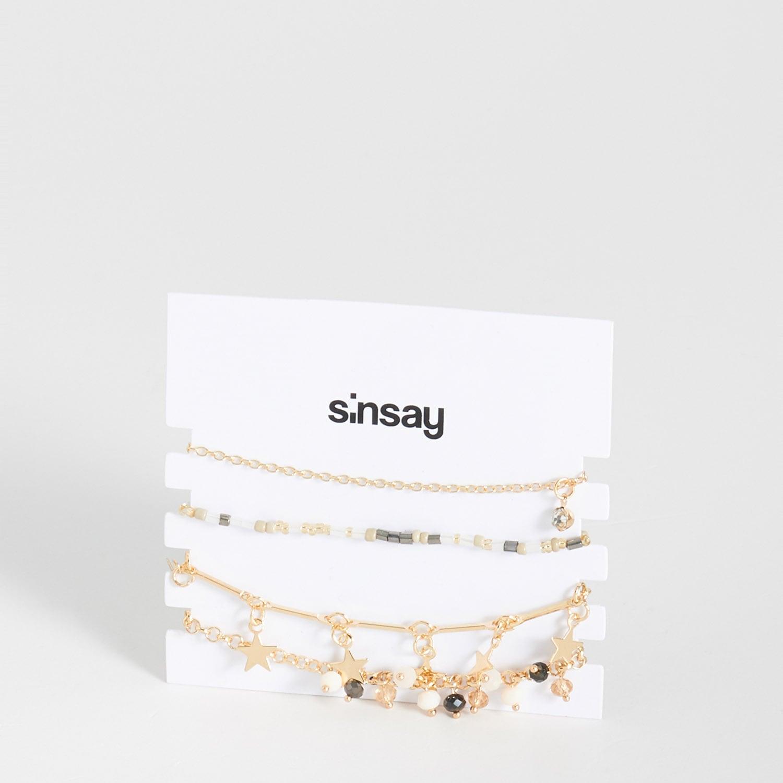 biżuteria sinsay - bransoletki z zawieszkami - beżowy - sinsay