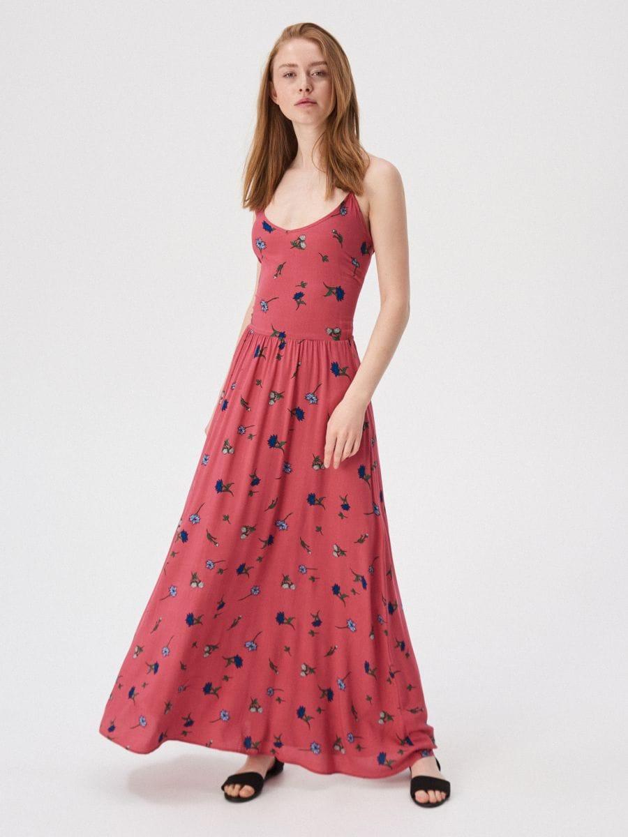 966aff29a0 Czerwona sukienka w kwiaty