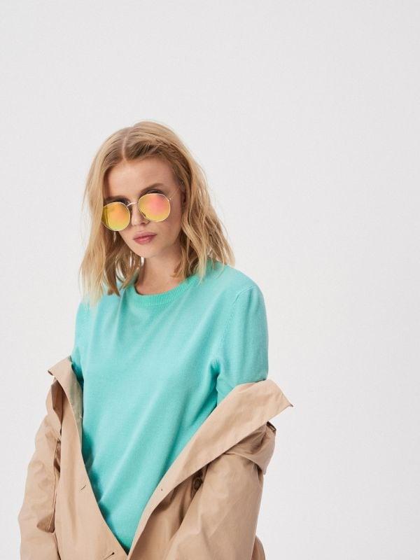 14ed927963679c Sweter z falbanką · Sweter z długim rękawem - zielony - UW756-07X - SINSAY