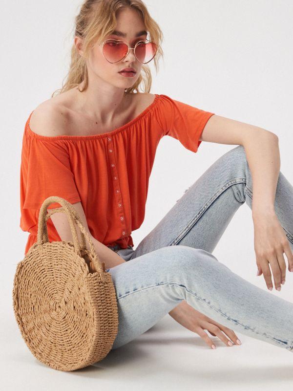 fbbde517a8d7 Blúzka s čipkovými rukávmi · Blúzka španielskeho strihu - oranžová -  VV696-32X - SINSAY